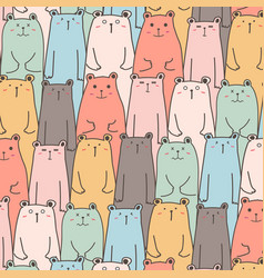 hand drawn cute bears pattern background vector image