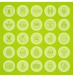 Happy Easter Line Circle Icons Set vector image