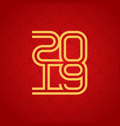 happy new year 2019 greeting card with gradient vector image