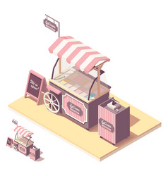 Isometric ice cream cart kiosk vector