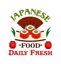 Japanese food Daily fresh sushi maki rolls vector image