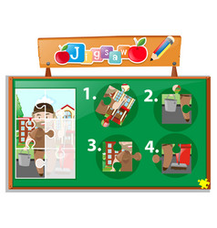 Jigsaw puzzle game template with janitor vector