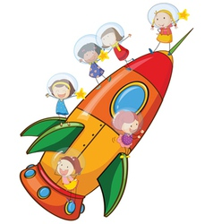 Kids on rocket vector