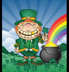 leprechaun pot gold cartoon character vector image