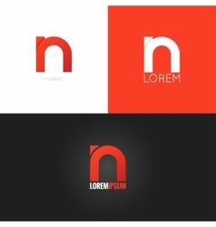 Letter N logo design icon set background vector