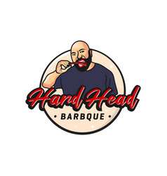 logos people eating barbecue meat vector image