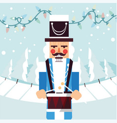 Merry christmas nutcracker with drum design vector