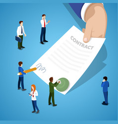 Miniature business people signing contract vector