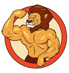 Muscular lion is posing vector