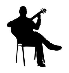 music man sitting and play guitar silhouette vector image