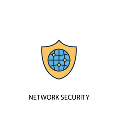 network security concept 2 colored line icon vector image