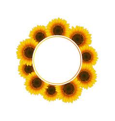 Orange yellow sunflower banner wreath vector