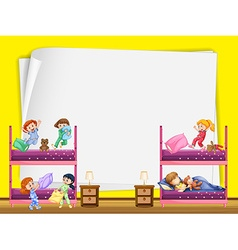 Paper design with kids in bedroom vector