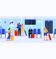 Passengers with luggage in waiting room airport vector