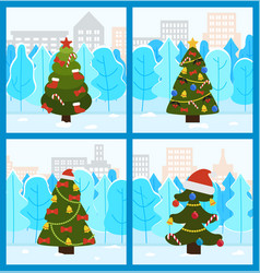 Pine tree decorated for christmas holidays set vector