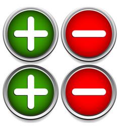 Plus minus sign symbol set with 2 different vector