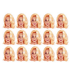 Portraits of beatuful woman with blonde hair vector