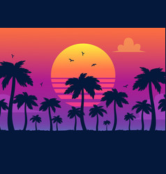 Purple sunset on palm icons backdrop vector