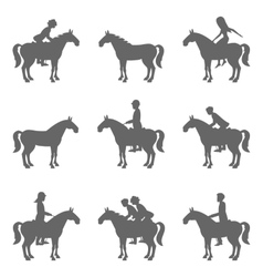 Racing horses and jockeys silhouettes vector