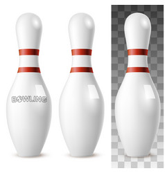 Realistic bowling white pins vector