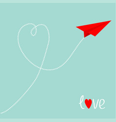 red origami paper plane dash line heart in the vector image