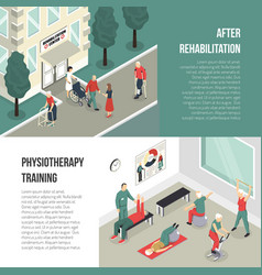 Rehabilitation and physiotherapy training banners vector