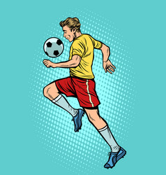 retro football player with a soccer ball vector image