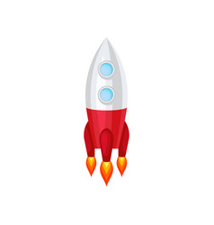 rocket with engine fire space ship with two round vector image