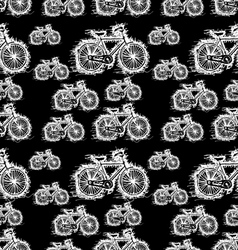 seamless pattern of sketch white bicycle vector image