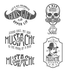 set mustache related quotes and design elements vector image
