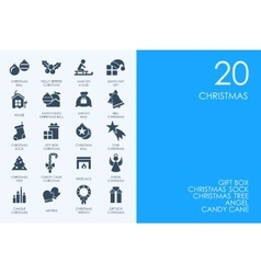 Set of blue hamster library christmas icons vector