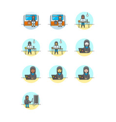set of multicolor computer programming icons vector image