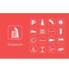 Set of Singapore simple icons vector image