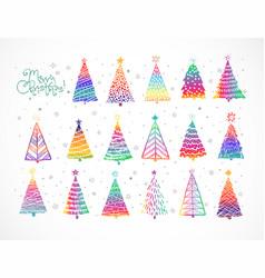 set rainbow christmas tree doodles on white vector image