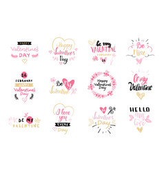 set valentines day label and badges creative vector image