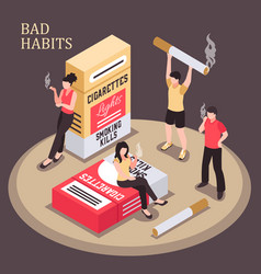 Smoking addiction isometric composition vector