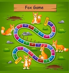 Snakes and ladders game fox theme vector