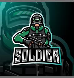 soldier mascot esport gaming logo vector image