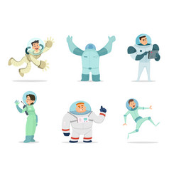 Space characters mascots astronauts in cartoon vector