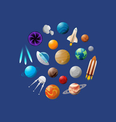 space ships and planets vector image