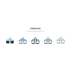 Streetcar icon in different style two colored vector