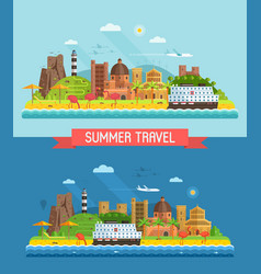 summer mediterranean coast town landscape vector image