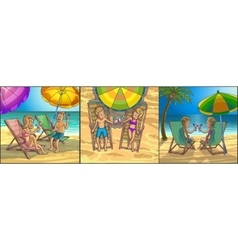 Summer tropical relax leisure scene on the beach vector image