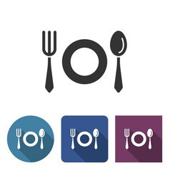 Tableware icon in different variants with long vector