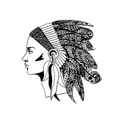 The profile of a girl in traditional headdress of vector