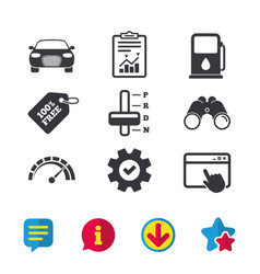 Transport icons tachometer and petrol station vector