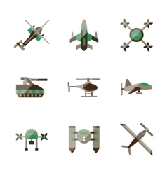 Unmanned robots flat color icons vector image