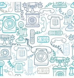 Vintage and modern telephones seamless pattern vector image