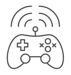 Wireless game controller thin line icon joypad vector