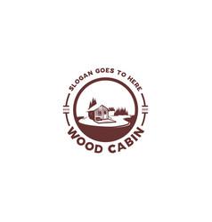wood cabin lake silhouette logo vector image